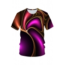 Trendy Unique Purple Wave 3D Printed Short Sleeve Casual Loose Tee