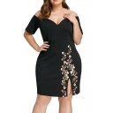 Women's Plus Size Sexy V-Neck Short Sleeve Floral Print Split Side Black Mini Dress
