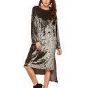 Trendy Solid Color Round Neck Long Sleeve Split Side Midi Casual Asymmetrical Velvet Dress