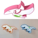 Metal Dinosaur Ceiling Mount Light Kindergarten Modern Style Ceiling Lamp in Blue/Orange/Pink
