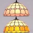 Tiffany Style Lattice Dome Ceiling Light Glass 1 Light Pink/Yellow Pendant Light for Study Room