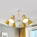Gray/Green/Yellow Cone Chandelier Rotatable 6 Lights Macaron Loft Metal Ceiling Pendant for Child Bedroom