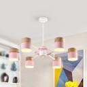 Metal Drum Shade Pendant Lamp Living Room 6/8 Lights Contemporary Hanging Light in Green/Pink/Yellow
