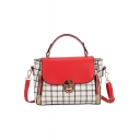 Stylish Colorblock Plaid Pattern Double Zipper Side Work Satchel Bag 21*8*15 CM
