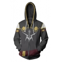 Trendy 3D Colorblock Comic Cosplay Costume Long Sleeve Grey Sport Loose Zip Up Hoodie