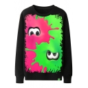 Basic Round Neck Long Sleeve Cool Red and Green Splash-Ink Comic Eyes Print Pullover Black Sweatshirt