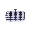 Stylish Color Block Geometric Pattern Blue and White Evening Clutch Bag 19*10*5.5 CM