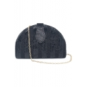 New Stylish Solid Color Belt Buckle Black Semicircular Sequined Crossbody Clutch 20*13 CM