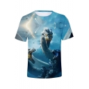 King of the Monsters Cool 3D Dragon Pattern Basic Round Neck Short Sleeve Blue Tee