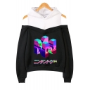 New Style Vaporwave Unique Letter Printed Cold Shoulder Long Sleeve Casual Loose Hoodie