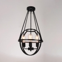 Black Edison Bulb Pendant Light with Globe Cage 4 Lights Industrial Metal Hanging Light for Cafe