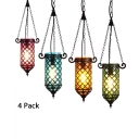 Turkish Mosaic Cylinder Pendant Light 1/4 Pack 1 Light Glass Hanging Light in Amber/Blue/Green/Purple(not Specified We will be Random Shipments)