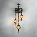 Amber Lantern Shape Chandelier 3 Lights Antique Style Swirl Glass Hanging Light for KTV Bar