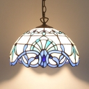 Bowl Shade Dining Table Pendant Light Stained Glass 1 Light Nautical Style Hanging Light in Blue