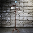 2 Heads Saucer Shade Floor Lamp with Water Pipe Industrial Metal Floor Lamp for Dining Room