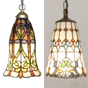 Multi-Color Bucket/Bell Pendant Light Tiffany Inca/Baroque Glass Hanging Light for Cafe