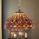 Stained Glass Peacock Tail Pendant Light 12 Inch Tiffany Antique Ceiling Light for Study Room