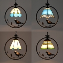 Tiffany Style Bird Decoration Hanging Light 1 Head Stained Glass Pendant Light for Balcony