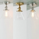 1 Light Conical Ceiling Fixture Simple Style Clear Glass Flush Mount Light in Chrome/Gold/Nickle for Corridor