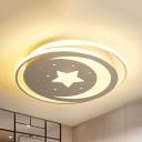 Bedroom Star Moon Ceiling Light Metal Creative Warm/White Lighting/Third Gear LED Flushmount Light