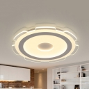 Simple Style White Flushmount Light Gear/Star Acrylic Warm & White Lighting LED Ceiling Lamp for Bedroom