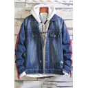 Men's New Stylish Red Tape Patched Long Sleeve Casual Loose Dark Blue Denim Jacket