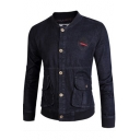 Men's Simple Embroidered Stand Collar Long Sleeve Large Pocket Button Down Fitted Dark Blue Denim Jacket