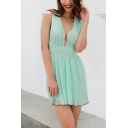 Summer Women's Simple Plain Sexy Plunging Neck Sleeveless Mini A-Line Pleated Dress