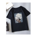 Chic Unique Abstract Floral Figure Pattern Round Neck Short Sleeve Summer T-Shirt