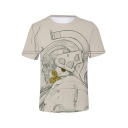 Cool Figure Sketch Print Basic Round Neck Short Sleeve Summer Casual Tee