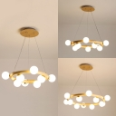 Wood Round Suspension Light with Orb Shade 8/10/12 Heads Asian Style Chandelier in Beige for Bedroom