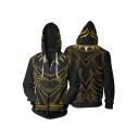 New Trendy Comic Cosplay Costume Cool 3D Printing Zip Up Long Sleeve Black Hoodie