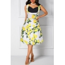 Summer Chic Lemon Pattern V-Neck Sleeveless Fashion Patchwork Midi Fit and Flared Dress