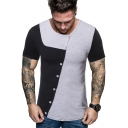 Guys Trendy Color Block Oblique Button Down Short Sleeve Slim Fitted T-Shirt