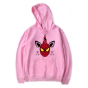 Funny Cool Cartoon Unicorn Spider Pattern Long Sleeve Pink Casual Hoodie