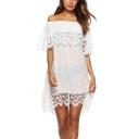 Summer Simple Plain Chic Lace Panel Off the Shoulder Mini White Shift Dress Beach Bikini Cover Up