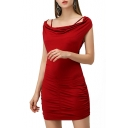 Womens New Trendy Simple Plain Boat Neck Sexy Crisscross Hollow Back Mini Bodycon Dress