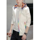 Mens Cool Unique Rainbow Zipper Closure Long Sleeve Hooded Sport Loose Track Jacket