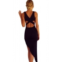 Womens Fashion Plain Scoop Neck Cutout Back Black Asymmetrical Bodycon Dress