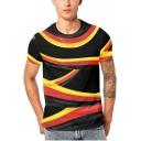 Stylish Twist Stripe Pattern Round Neck Short Sleeve Black T-Shirt