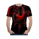 Summer Creative Spiral Art 3D Printed Round Neck Short Sleeve Black T-Shirt