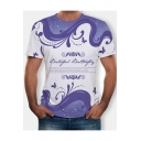 Summer Purple Romantic Pattern Round Neck Short Sleeve Loose Relaxed T-Shirt