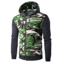 Men's Fashionable Camouflage Pattern Long Sleeve Zipper Front Slim Fit Hoodie