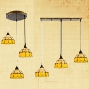 3 Lights Grid Domed Pendant Lamp Tiffany Rustic Glass Island Light in Yellow for Dining Table