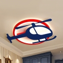 Cartoon Blue LED Flushmount Light Helicopter Acrylic Ceiling Light in Warm/White/Third Gear for Boy Bedroom