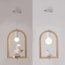 Wood Bird Cage Pendant Lamp with Angle/Bird 1 Light Rustic Style Hanging Light in Beige