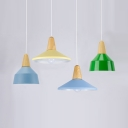 Living Room Pendant Lamp with Shade Aluminum One Light Macaron Loft Hanging Light Blue/Green/Yellow Ceiling Light