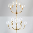 Sunken Bud Restaurant Chandelier with Candle Metal 6/8 Lights Colonial Style Suspension Light in Gold