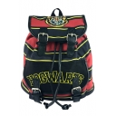 Hot Fashion Classic Stripe Pattern Belt Buckle Badge Patchwork Black and Red Drawstring School Bag Backpack 38*30*17 CM
