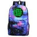 Unisex Fashion Green Hand Galaxy Starry Sky Print Casual School Bag Backpack 31*18*47 CM